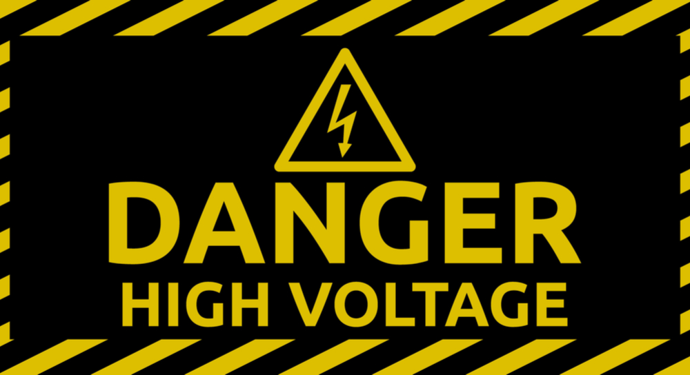 """Danger High Voltage"" sign."