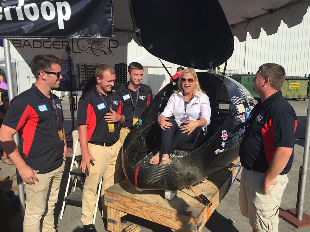 Judy Warner in the Badgerloop pod at Hyperloop competition