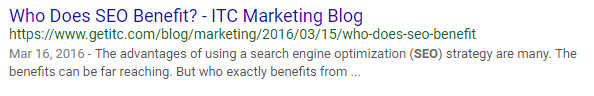 Who Does SEO Benefit title tag SERP