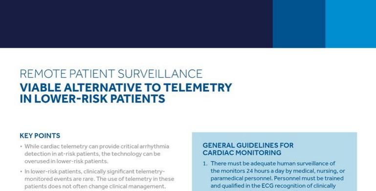 Remote Patient Surveillance: Viable Alternative to Telemetry in Lower-Risk Patients