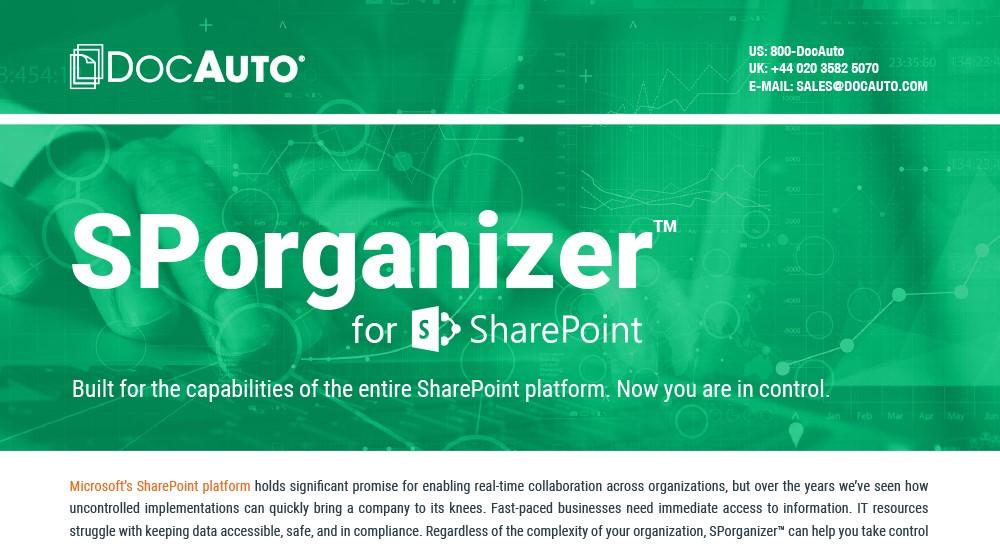 Datasheet: SPorganizer