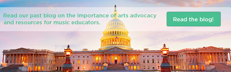 "Image of the US State House at sunset, text reads ""Read our past blog on the importance of arts advocacy and resources for music educators! Read the blog!"""