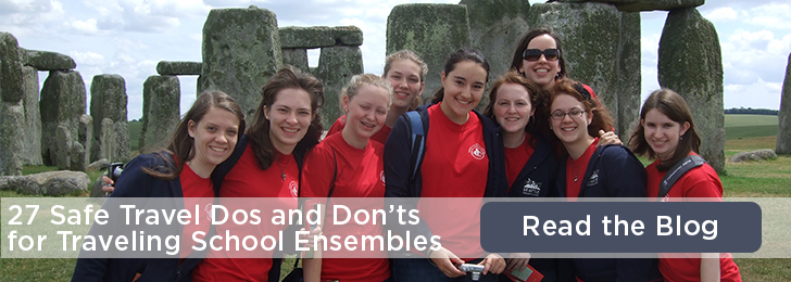 Nine young women in red shirts standing in front of Stonehenge. Image text: 27 Safe Travel Dos and Don'ts for Traveling School Ensembles. Read the Blog.