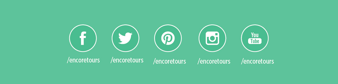 Encore Tours Social Media Icons - Facebook, Twitter, Pinterest, Instagram, YouTube