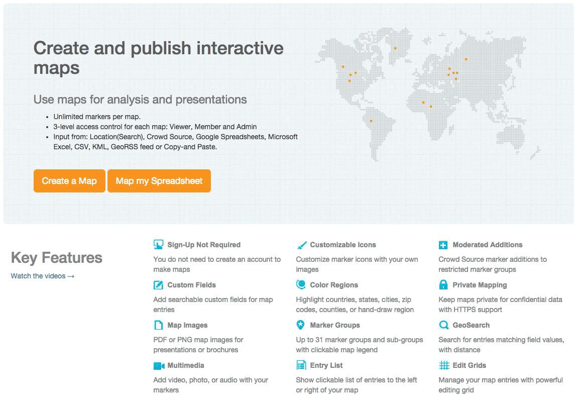 create and publish interactive maps