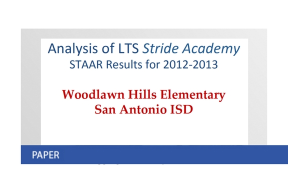 Stride and STAAR Results at Woodlawn Hills, San Antonio, Texas