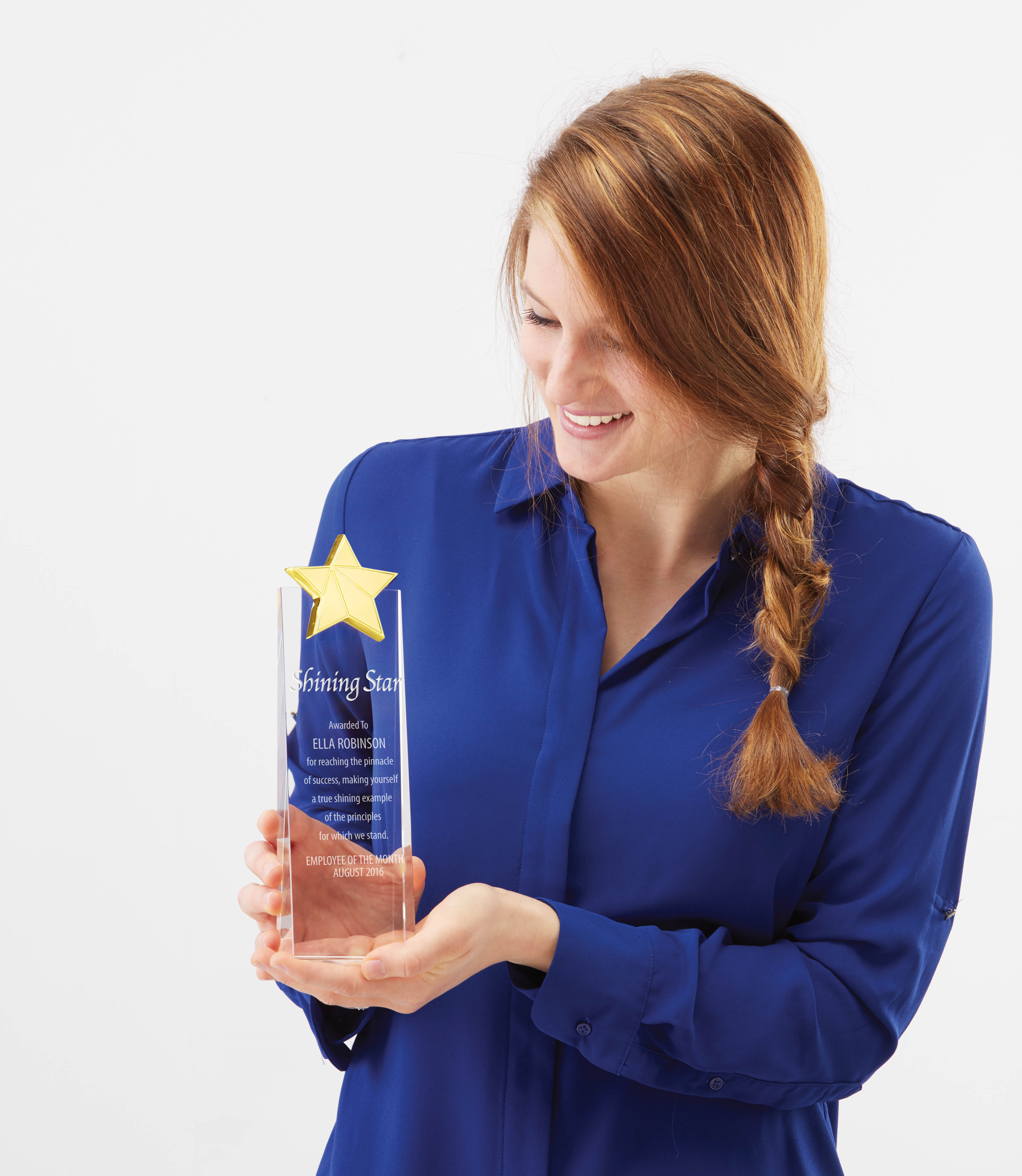 Young Woman in Blue Shirt Receiving Crystal Trophy with Gold Star