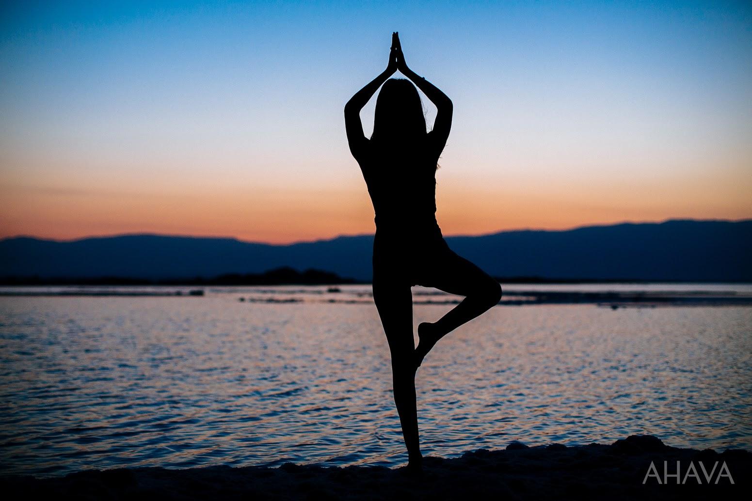 yoga pose in nature dead sea