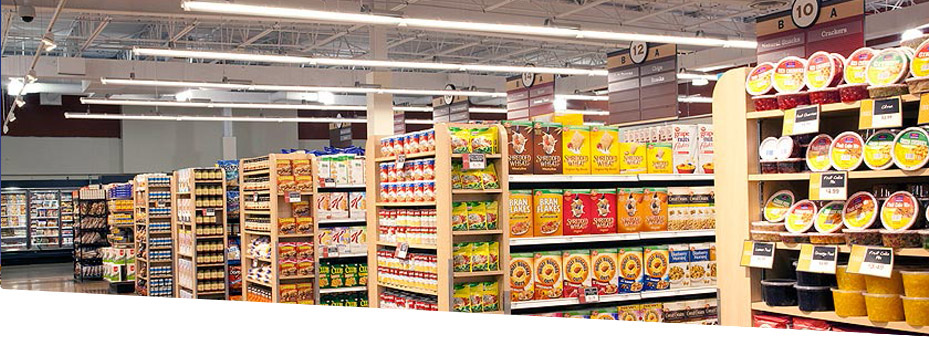 grocery store aisles with LED lighting