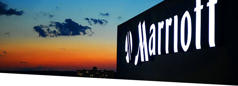 marriott headquarters sign at sunset