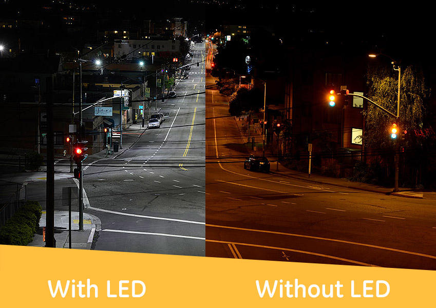 roadway with led light before and after