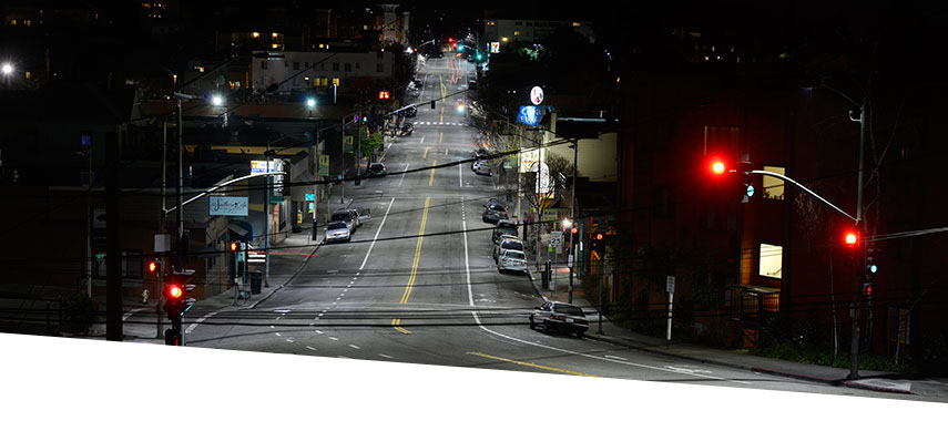 Oakland street lit with LEDs at night