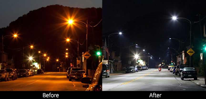 Tarentum Borough LED street lights before and after