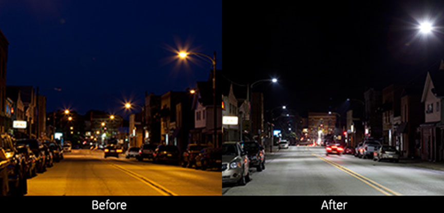Tarentum Borough LED roadway lighting before and after