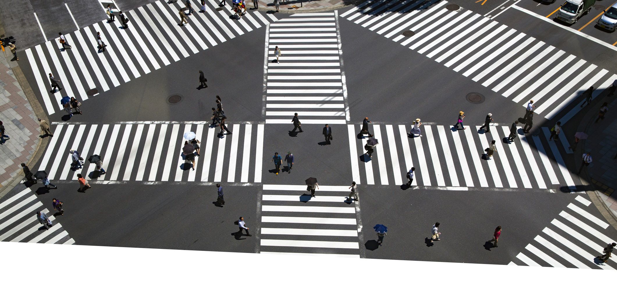 crosswalk with people walking