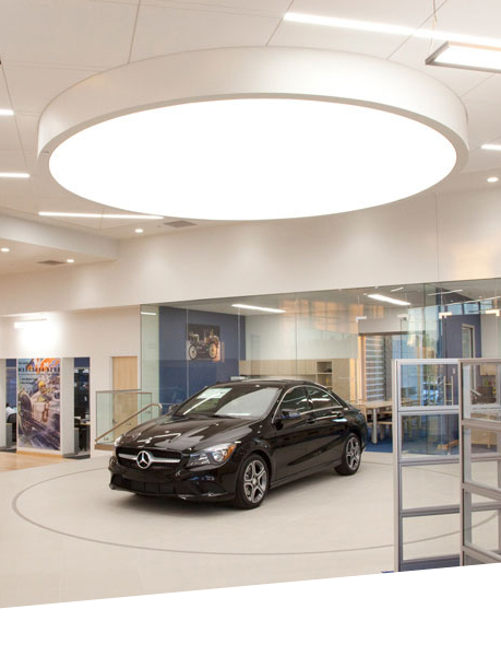 Lumination™ LED Luminaires add elegance to the showroom while combating energy costs.