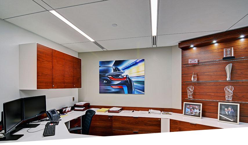 USG Logix integrated ceiling with GE Lumination LED