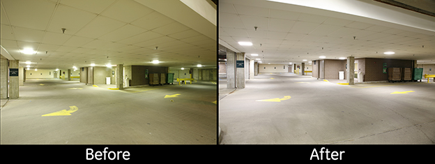 Spectrum Health garage lighting before and after