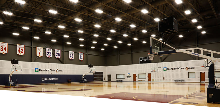 Cleveland Cavaliers practice court with Albeo LEDs