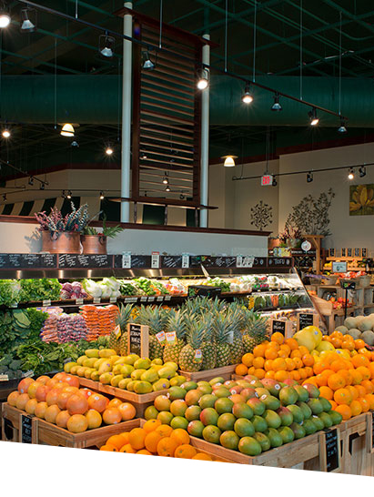 LED Lamps on produce in fresh market