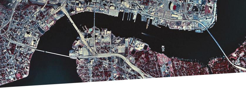 Overhead view of a city bridge