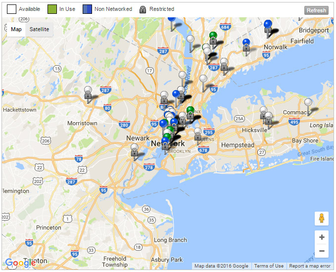 Map of EV Charging Stations around New York City