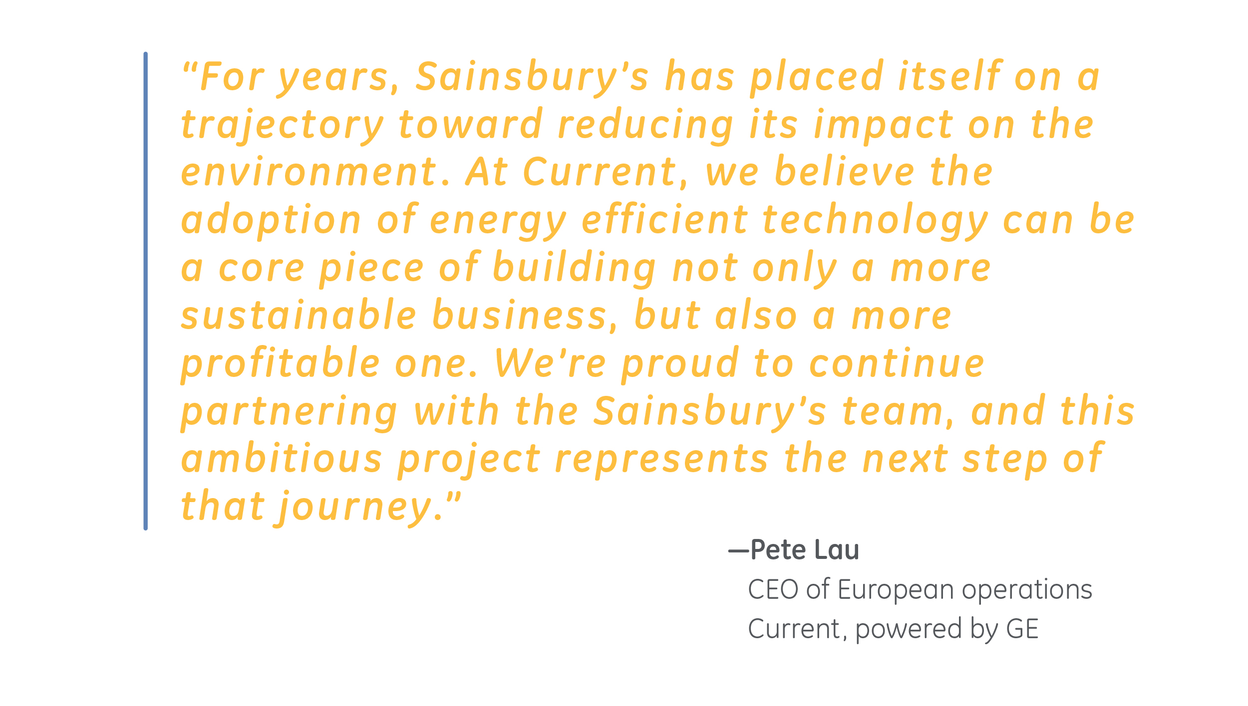 Sainsbury's and Current quote Pete Lau CEO