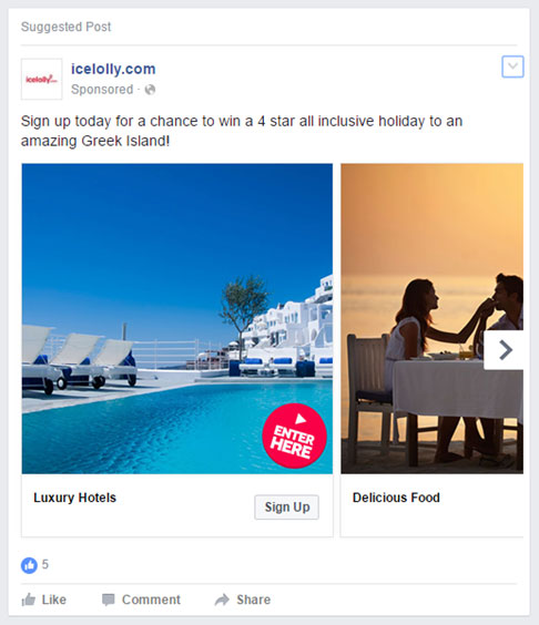 Facebook Sponsored Post Example