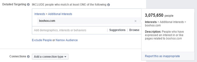 Facebook Ad targeting reach