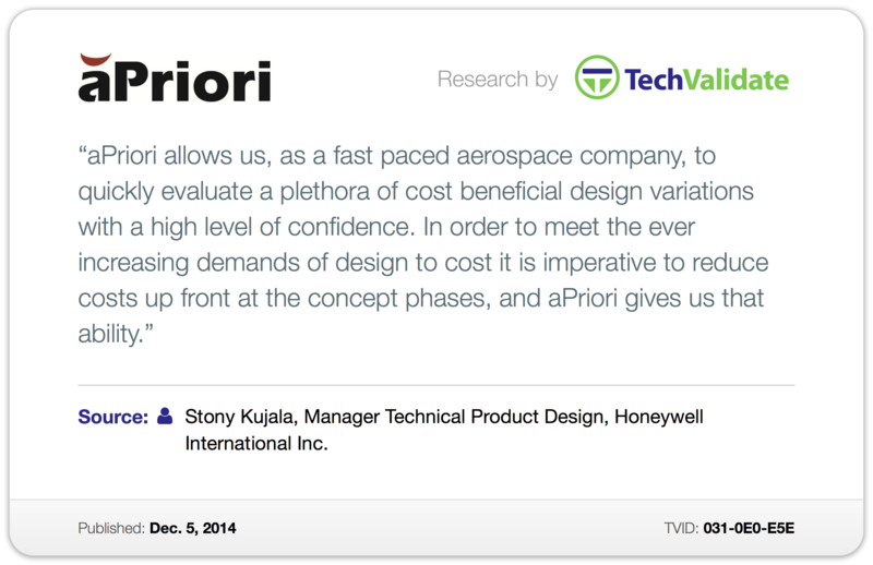 quote by Stony Kujala, Manager Technical Product Design, Honeywell