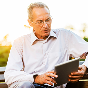 Man viewing tablet