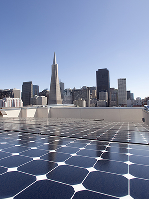 Solar panels on commercial buildings