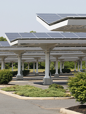 Carport installation generating commercial solar power