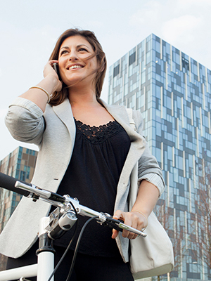 Woman participating in a bike-to-work program