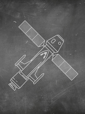 Chalkboard drawing of satellite with high efficiency commercial solar panels