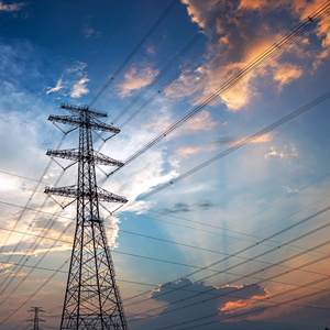 Power towers as part of the energy infrastructure that delivers electricity