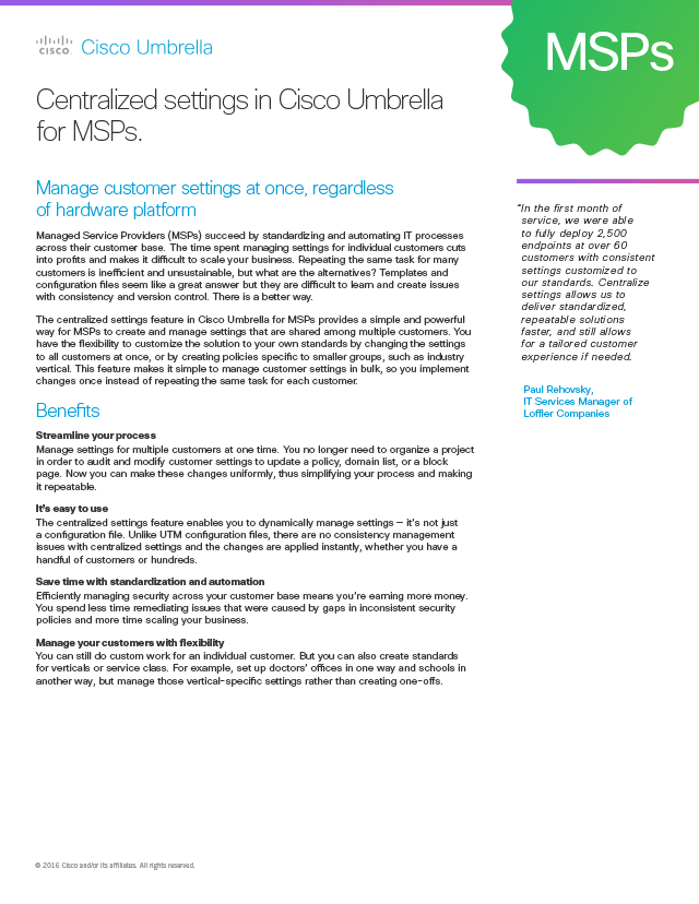 Centralized Settings for MSPs