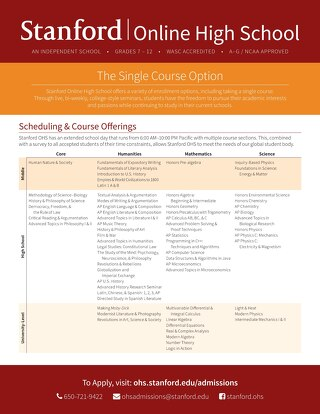 Stanford Online High School Single Course Flyer