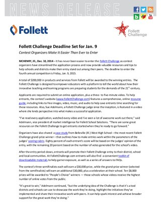 News Release: Follett Challenge Deadline Set for Jan. 9