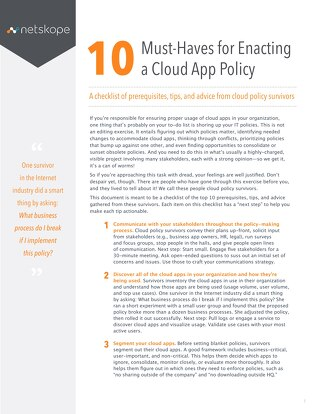 10 Must-Haves for Enacting a Cloud App Policy