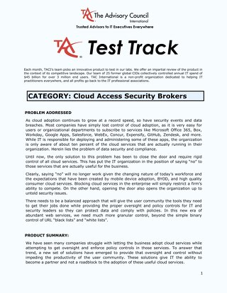 The Advisory Council (TAC) Test Track - Netskope