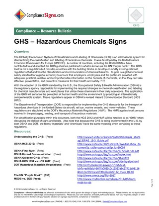 GHS - Hazardous Chemical Signs