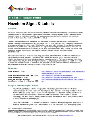Hazardous Chemical (Hazchem) Signs and Labels