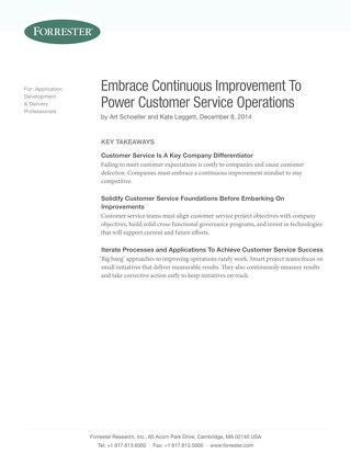 Forrester Report: Embrace Continuous Improvement