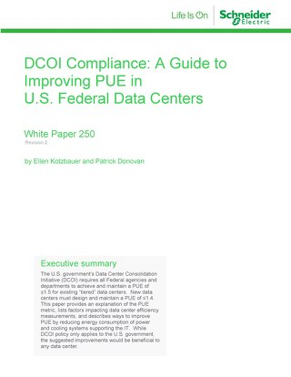 WP 250 - DCOI Compliance: A Guide to Improving PUE in U.S. Federal Data Centers
