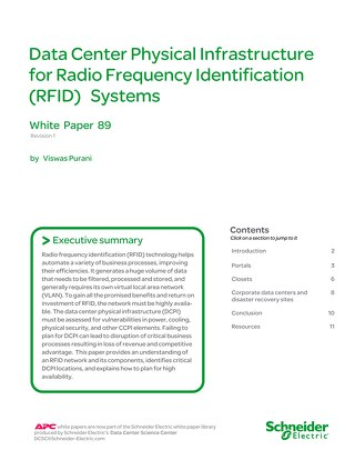 WP 89 - Data Center Physical Infrastructure for Radio Frequency Identification (RFID) Systems