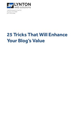 25 Techniques to Enhance Your Blog's Value