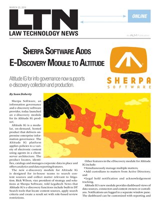 Sherpa Software Adds eDiscovery Module to Altitude IG