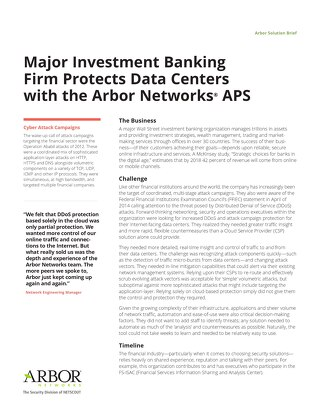 Major Investment Banking  Firm Protects Data Centers  with the Arbor Networks APS