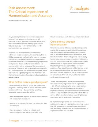 Risk assessment: the critical importance of harmonization and accuracy